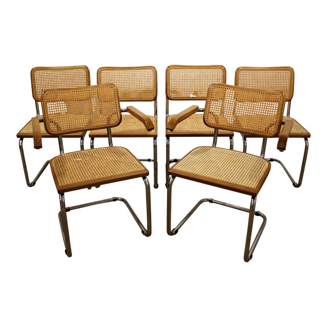 Mid-Century Danish Modern Marcel Breuer Style Caned Dining Chairs - Set of 6 - Image 1 of 10