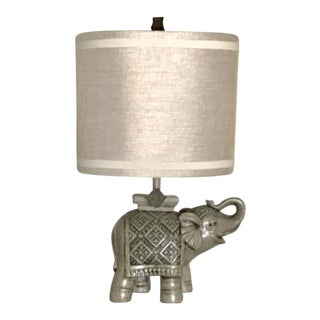 Gray Indian Elephant Table Lamp With Tan Shade