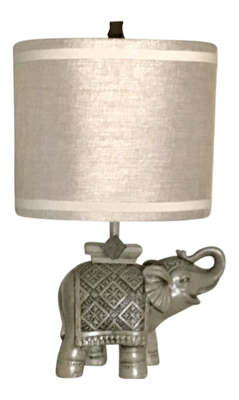 Delicieux Gray Indian Elephant Table Lamp With Tan Shade For Sale