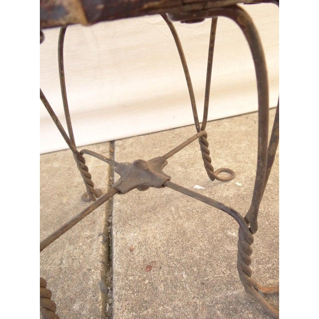 Antique Ice Cream Parlor Twisted Metal Foot Stool Ottoman For Sale - Image 4 of 7