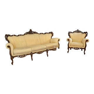 Antique Black Forest Wood Victorian Parlor Sofa and Chair - a Pair For Sale