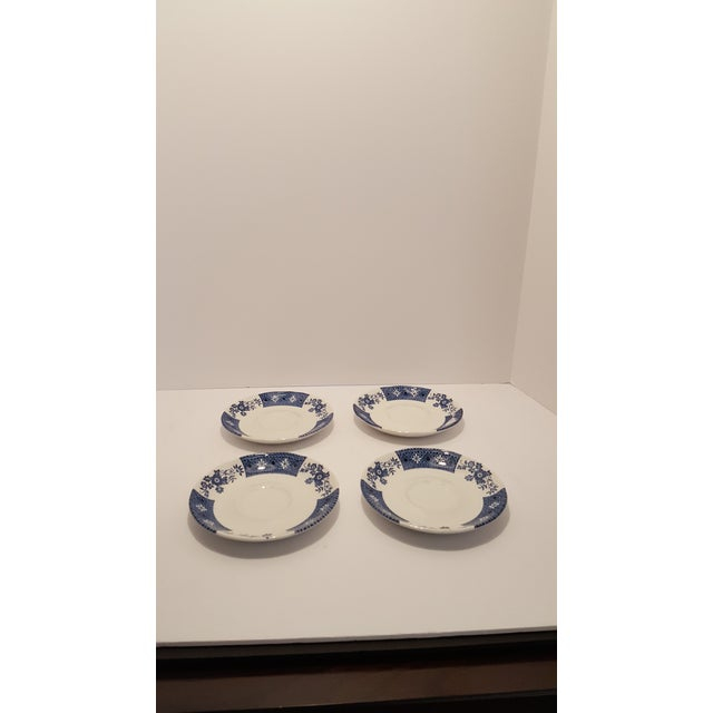 Four sets of J&G Meakin Cups & Saucers. Beautiful and Popular Blue & White pattern. Use these to enhance your Meakin...