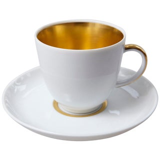 Set of 10 White and Gold Fürstenberg Porcelain Demitasse Cups & Saucers, Germany For Sale