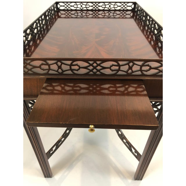 1990s Chippendale Flame Mahogany Side Table For Sale - Image 5 of 13