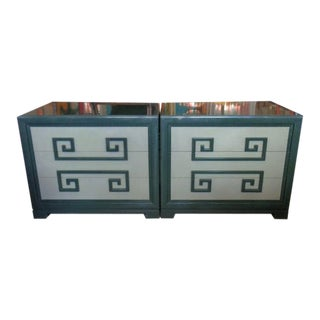 Mid-Century Modern Greek Key Chests - a Pair For Sale