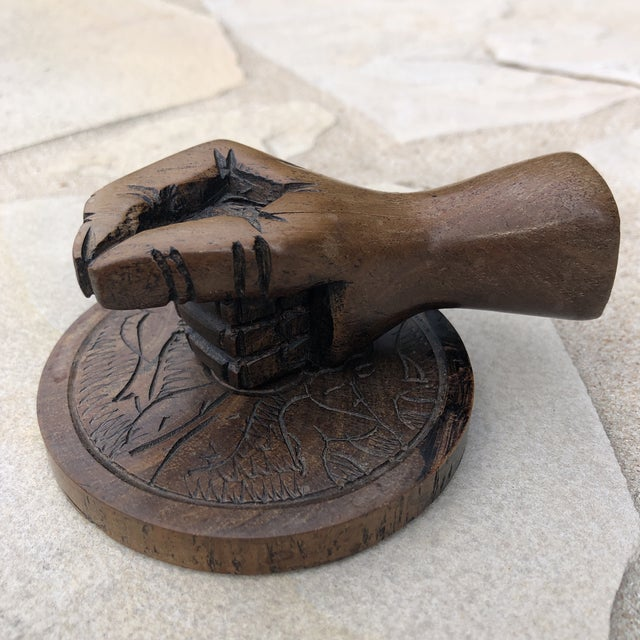 Vintage Carved Wood Human Hand Stamp Sculptural Paperweight For Sale - Image 13 of 13