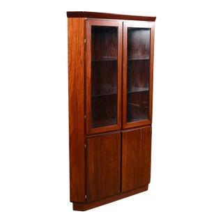 Danish Modern Rosewood Corner Display Cabinet W. Light For Sale