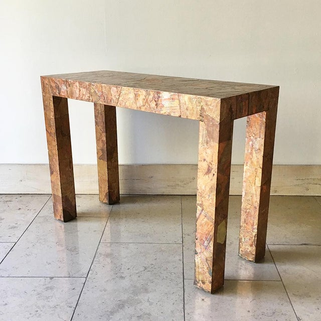 Lacquered Copper and Brass Pathwork Console Table 1970s For Sale - Image 4 of 7