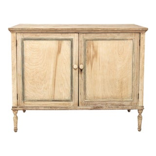 Bleached Wood Cupboard With Interior Drawers For Sale
