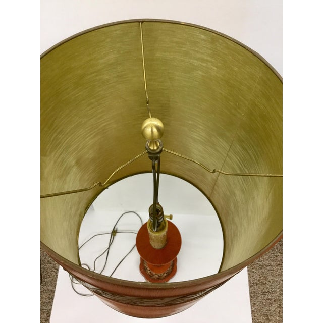 Metal 1940s Tall Hollywood Regency Deep Coral & Gold Table Lamp For Sale - Image 7 of 13