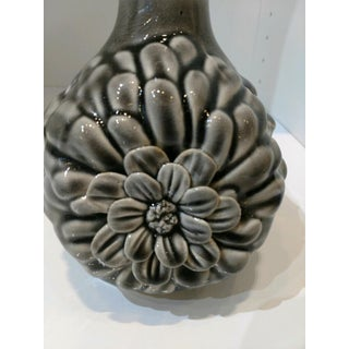 Shabby Chic Flower Detailed Gray Ceramic Vase Preview