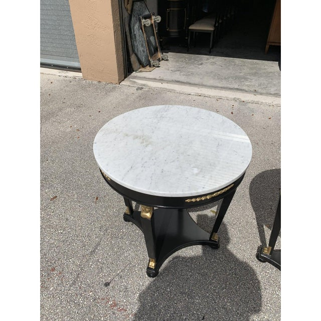 1910s Antique French Empire Marble Top Accent Tables or Gueridon Tables - a Pair For Sale In Miami - Image 6 of 13