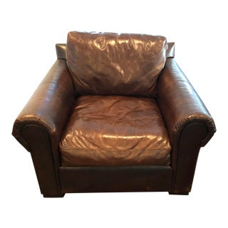 Modern Restoration Hardware Lancaster Down Leather Chair For Sale
