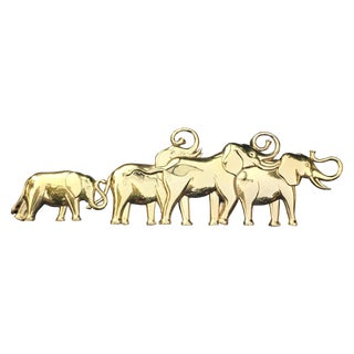 Syroco Gold Lucky Elephant Wall Hanging For Sale