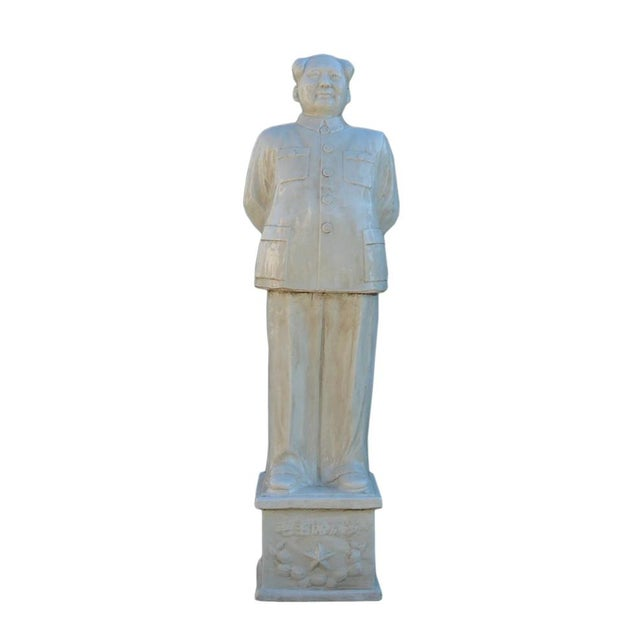 This is a handmade porcelain White Chairman Mao figure with vintage finish. It is in a standing with hands back posture....