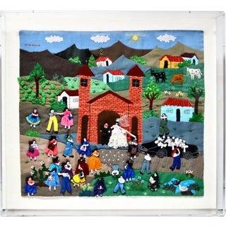"1980s ""A Wedding"" Framed Needlework Folk Art For Sale"