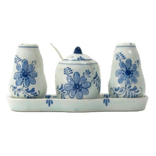 Dutch Delft Condiment Set