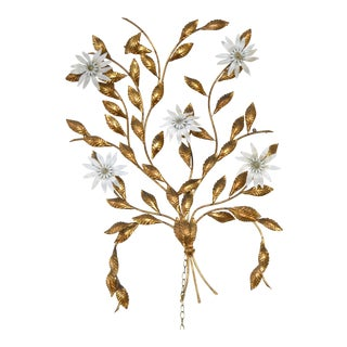Vintage Golden Metal Tree Branch Wall Sculpture With 5 Flower Lights For Sale