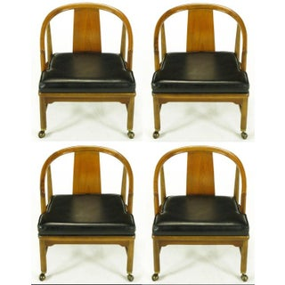 Four Asian Modern Yoke Back Dining Chairs Preview
