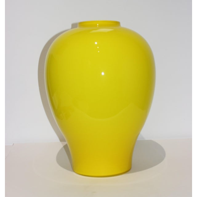 "Yellow Vetri Murano Glass Vase 17"" 1970s For Sale - Image 11 of 13"