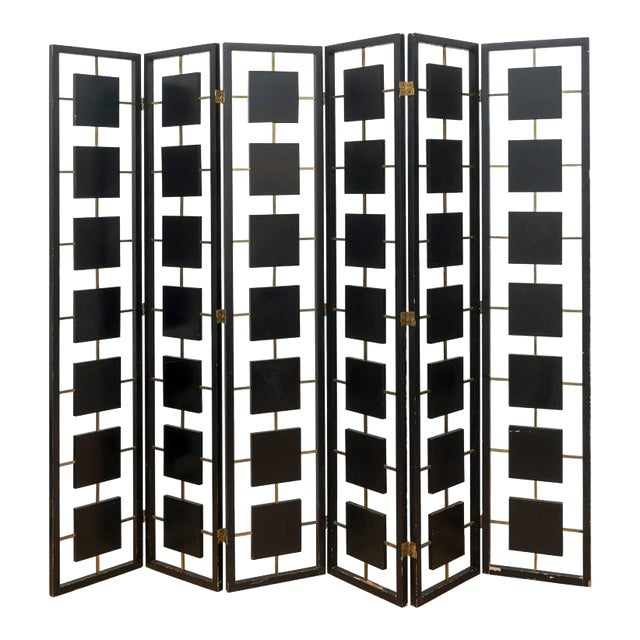 Brass & Black Lacquer Six-Panel Screen For Sale