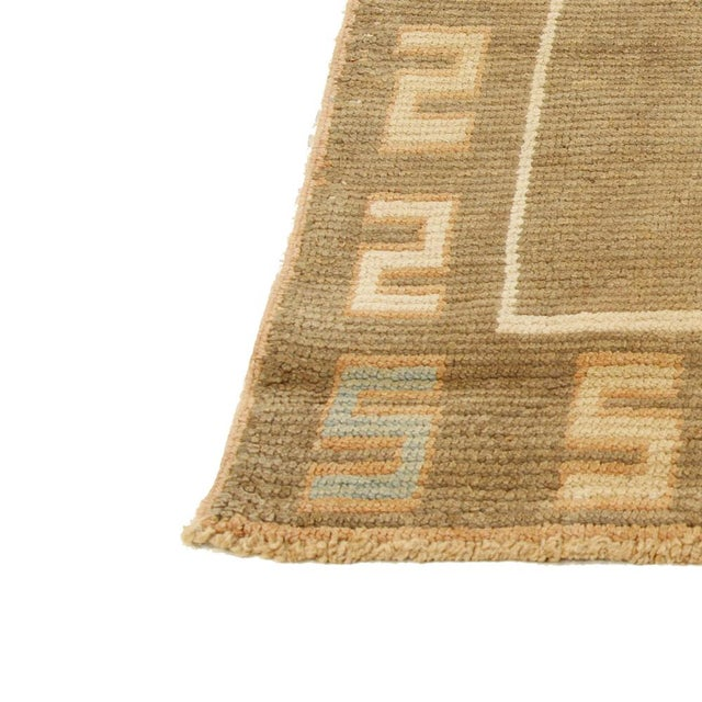 Turkish Donegal Blue & Beige Botanical Rug-4′ × 4′ For Sale - Image 4 of 5