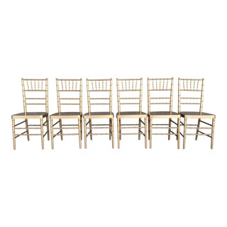 Hollywood Regency Faux Bamboo Gold Wooden Side Chairs - Set of 6 For Sale