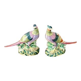 Andrea Sadek Hand Painted Porcelain Pheasants Figurines - a Pair