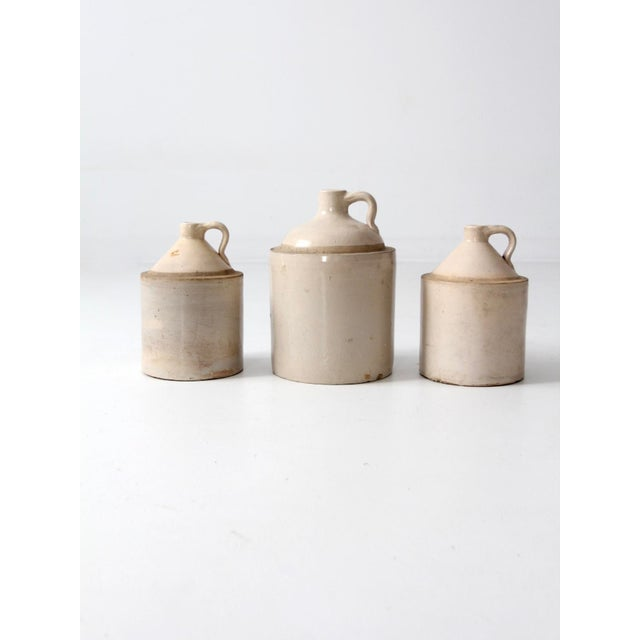 Americana Antique Stoneware Crock Jugs - Set of 3 For Sale - Image 3 of 8
