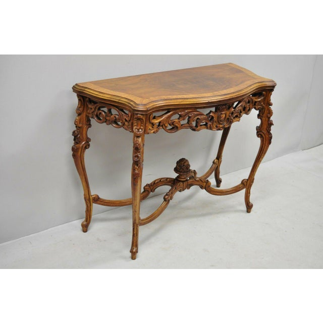 French 20th Century French Louis XV Carved Walnut Banded Console Table For Sale - Image 3 of 11