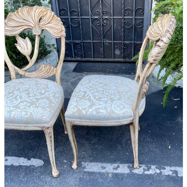 Vintage Fortuny Upholstered Carved Italian Grotto Chairs - a Pair For Sale In Los Angeles - Image 6 of 8