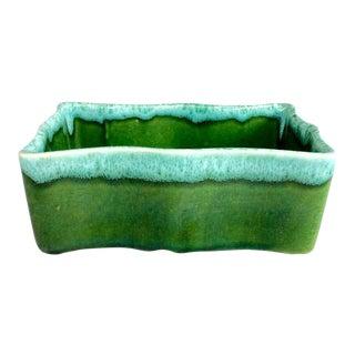 Vintage Mid-Century Upco Green Dripware Ceramic Planter
