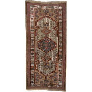 """Antique Persian Geometric Rug - 3'1"""" x 6'8"""" For Sale"""