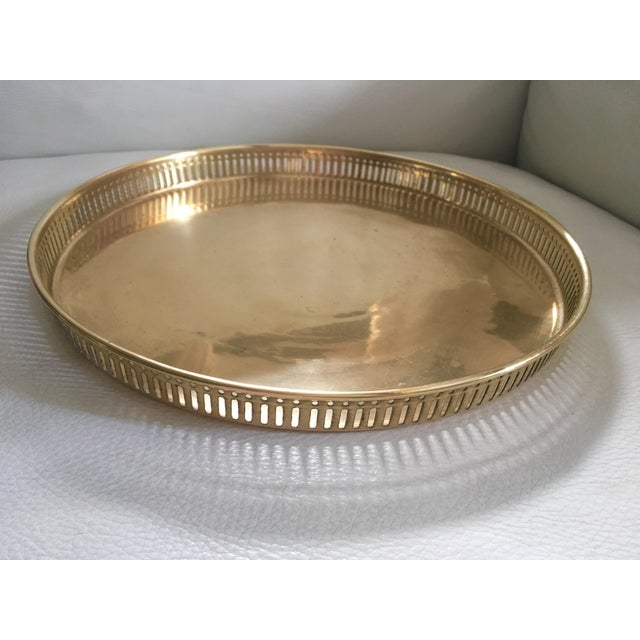 Vintage Pierced Gilt Round Tray For Sale In Miami - Image 6 of 6