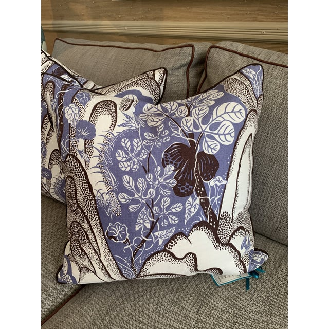 """Josef Frank """"Rocks & Figs"""" custom pillow with grosgrain trim and 80/20 down feather insert."""