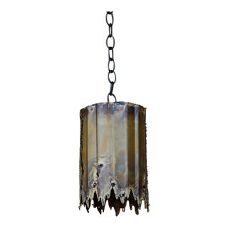 Mid Century Tom A. Greene Small Brutalist Pendant Light For Sale