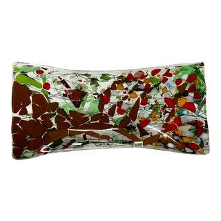 Vintage Mid-Century Murano Style Confetti Splatter Art Glass Tray For Sale