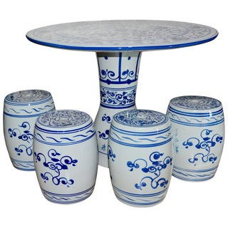 Chinese Hand-Painted Porcelain Garden Table and Stools For Sale