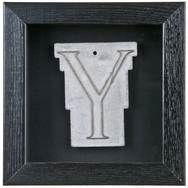 Framed Mid Century Spacerite Steel Letter Y - Image 1 of 2