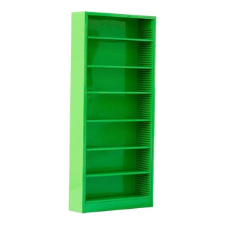 Tall Steel Tanker Bookcase, Refinished in Lime Green For Sale