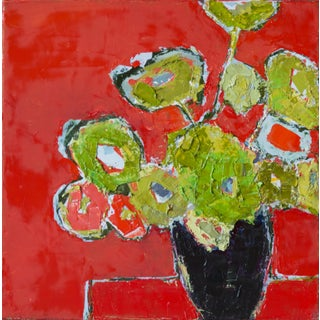 """Bill Tansey """"Mixed Green Floral"""" Abstract Floral Painting Oil on Canvas For Sale"""