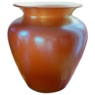 Durand Irredescent Art Deco Orange and Gold Glass Vase For Sale