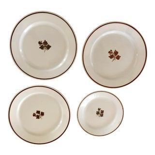 Vintage Wedgewood & Co. Royal Stone China Tea Leaf Pattern Plates — Set of 4 For Sale