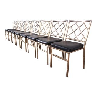 Mid-Century Modern Hollywood Regency Faux Bamboo Brass Dining Chairs, Set of Eight For Sale