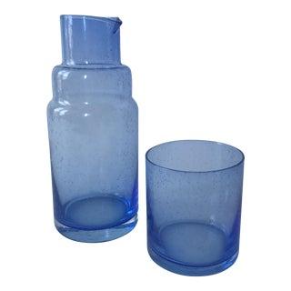Blue Glass Tumble Up Bedside Carafe Set - 2 Pc.