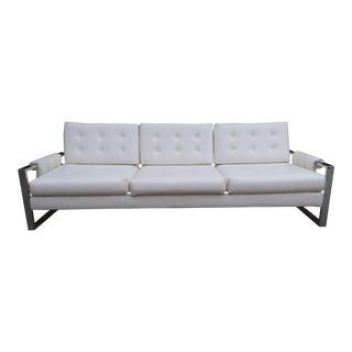 1970s Milo Baughman Style Chrome Flat Bar Sofa For Sale