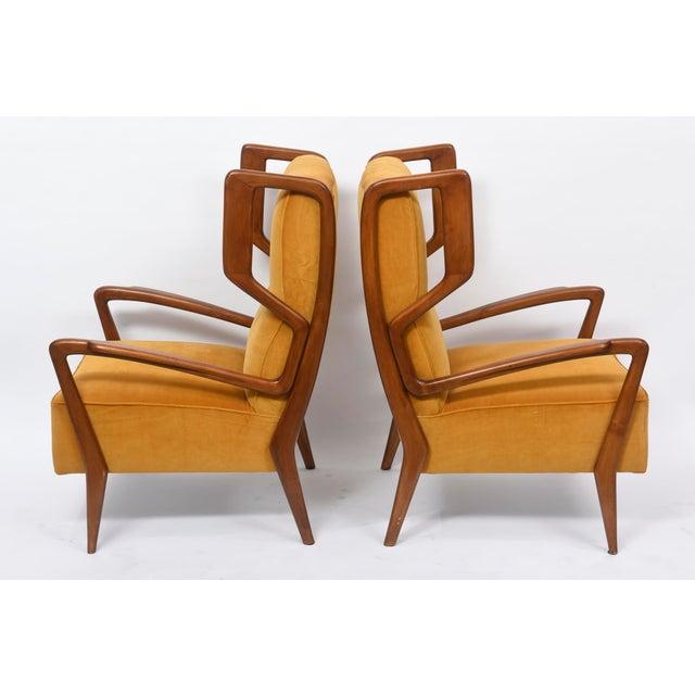 Rare Pair of Italian Modern Walnut Armchairs, Orlando Orlandi For Sale - Image 4 of 11