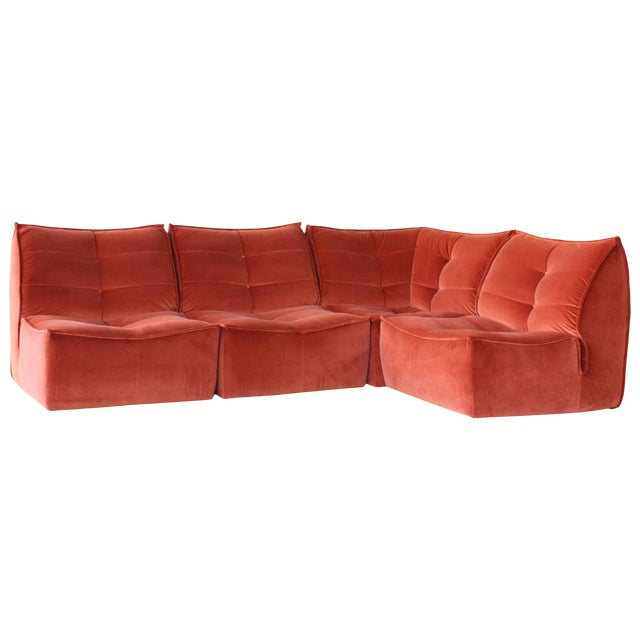 Four-Piece Sectional Sofa, Italy, 1960s For Sale
