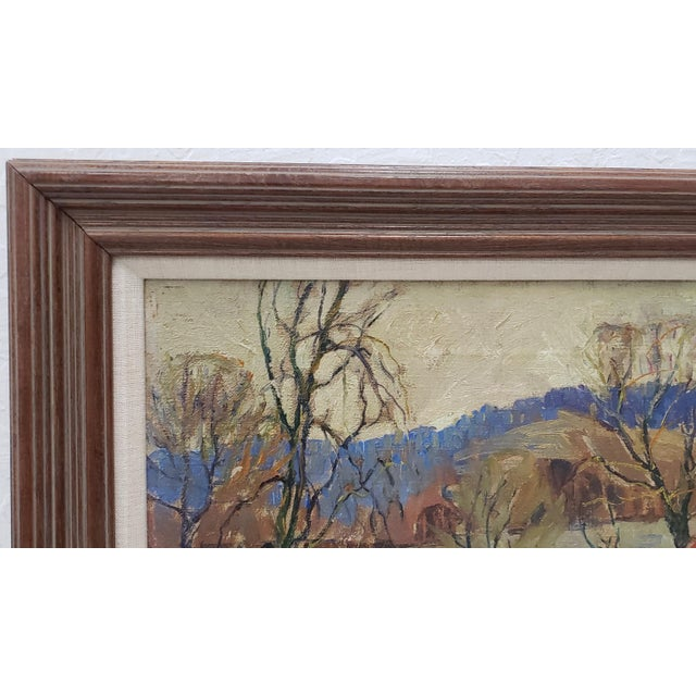 """1920s Fern Coppedge (American, 1883-1951) """"Winter - New Hope"""" Original Oil Painting C.1920 For Sale - Image 5 of 9"""