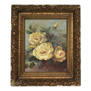 Framed Yellow Roses Still-Life Original Oil on Board For Sale